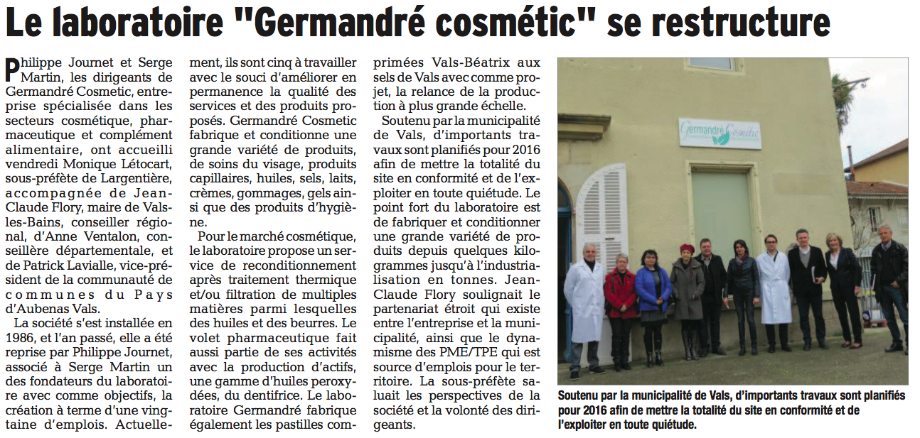 Le laboratoire germandre cosmetic se retstructure